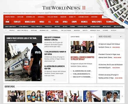 قالب خبری جوملا 2.5 انگلیسی The World News نسخه 2.7